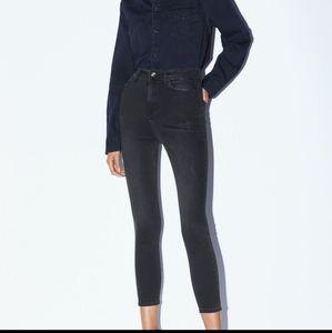 Zara High Rise Skinny Jeans Basic Distressed Black
